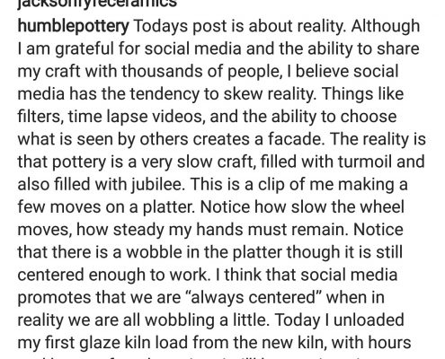 Love this post from Ryan McFall @humblepottery. Powerful message. #potterywisdom #loveclay #humblepottery