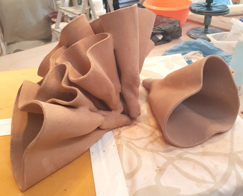 Studio Process - construction. Ceramic sculpture - 'The Folded Line' by Michelle Maher. Inspired by Fungi , it was sculpted in my own grogged paper clay body and high fired in an electric kiln to Cone 9. www.ceramicforms.com