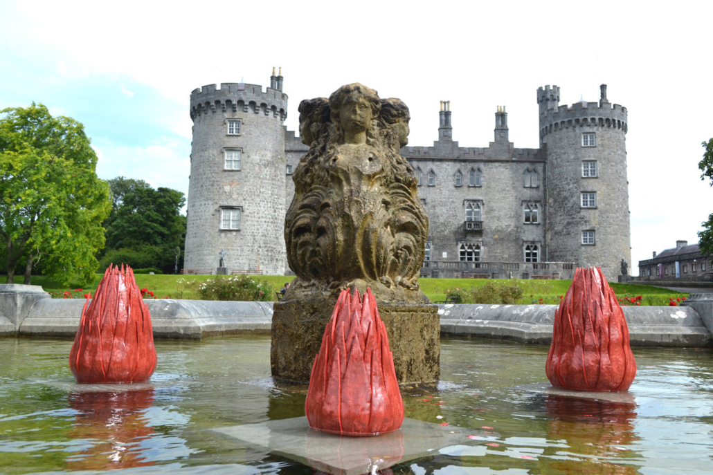 Ceramic water sculpture - 'Seeing Red' by Michelle Maher. Shown here at CONNECTED (2020) in Kilkenny Castle Gardens, Co. Kilkenny. Exhibition run by National Design & Craft Gallery. Inspired by patterns in nature, it was sculpted in a grogged clay body and high fired in an electric kiln to Cone 9. www.ceramicforms.com Social: @ceramicforms