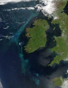"Phytoplankton bloom off Ireland – Viewspace Caption: ""Swirling clouds of blue and green lit the Atlantic Ocean west of Ireland on June 2, 2006, when the Moderate Resolution Imaging Spectroradiometer (MODIS) on NASA's Aqua satellite captured this image. Phytoplankton are microscopic plants that grow in the sunlit surface waters of the ocean. When enough of the plants grow in one place, the bloom can be seen from space."" NASA image courtesy Jeff Schmaltz, MODIS Land Rapid Response Team at NASA GSFC."
