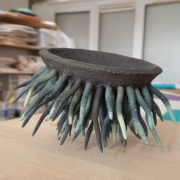 Paper Clay sculpture in coloured clays ( by Herle Mette Andersen), Dublin based weekend course. Electric fired to 1280°C. www.ceramicforms.com