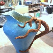 Coil built jug with modelled branch detail by Justin O'Connor. Crank clay body at Dublin based Wednesday evening Ceramic course. Electric fired to 1260°C (Cone 8). www.ceramicforms.com