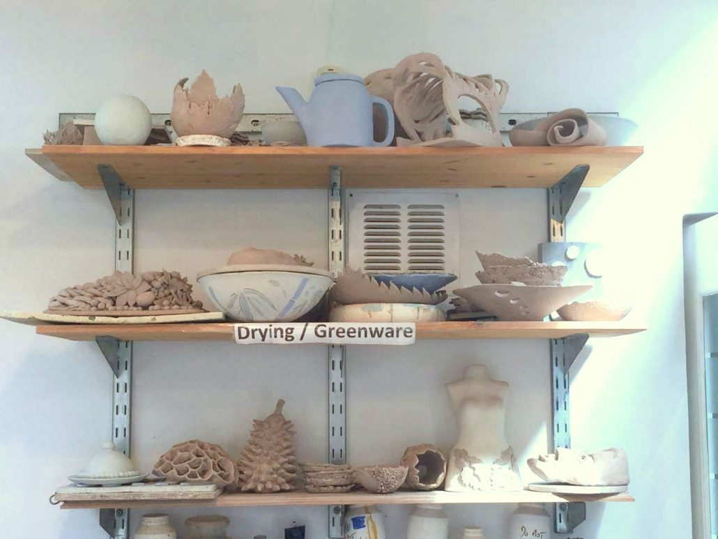 Studio shot, selection of students work at the drying/greenware stage (unfired). Dublin based ceramic courses. www.ceramicforms.com