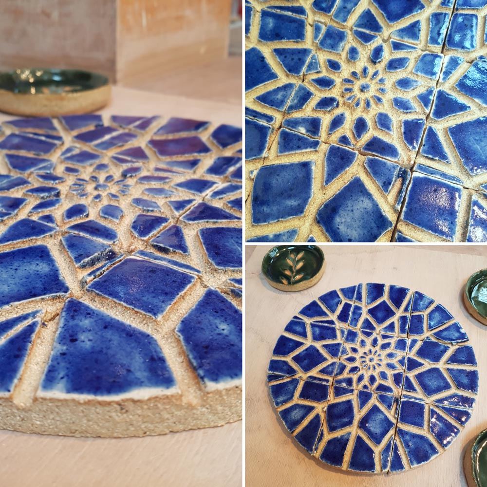 This is what happens when you dream about your ceramic designs - they turn out so nice! Gorgeous ceramic tiles and dishes by Rian Mc @rianmc Wednesday night ceramic class. #loveclay #blue #ceramic #tile #stoneware #dreamingaboutclay #pottery #potterystudio #scraffito #slip #perfectdayforclay @ceramicforms