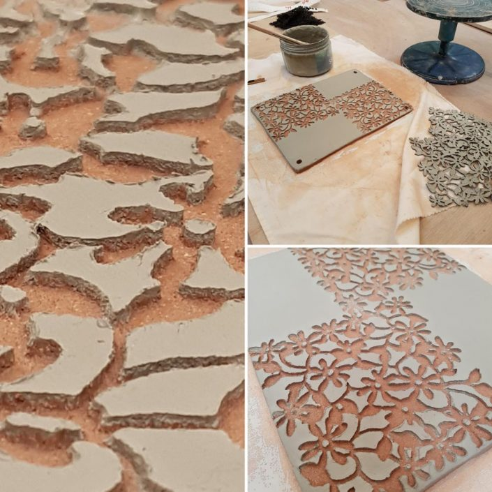 Wall piece in pocess by Emily O'Byrne with resist and slip detail. Dublin ceramic class. #ceramicforms #slip #loveclay #wip #students #process #ceramicstudio #potterystudio #ceramicclass #dublin #ceramicforms #handmade #stoneware #resist #texture. www.ceramicforms.com
