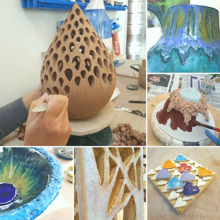 Collage of students pieces from Ceramic Forms. www.ceramicforms.com