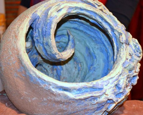 Coiled & modelled sculpture by Claire Kavanagh at Dublin based Tuesday evening pottery course. A painterly approach was taken with decorating slips. Later fired in an electric kiln to 1260°C (Cone 8). www.ceramicforms.com