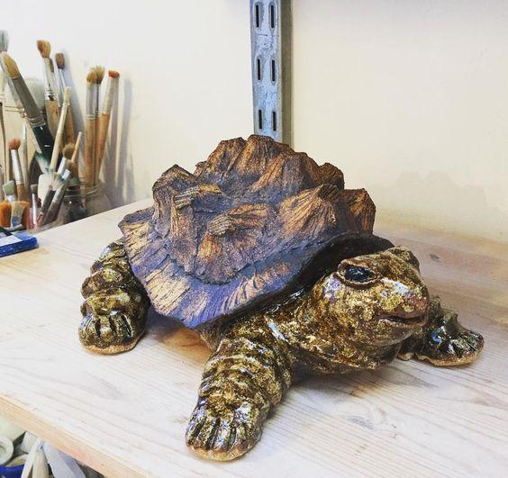 Ceramic turtle by Lorraine O'Connor. #ceramics #Dublin #CeramicClass #stoneware #handmade #cone8 #glaze #oxide #loveclay #ceramicstudio #ceramicforms