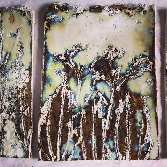 Ceramic wall piece by Marta Durek. #ceramics #Dublin #CeramicClass #stoneware #handmade #cone8 #glaze #texture #markmaking #loveclay #ceramicstudio #ceramicforms