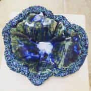Ceramic bowl by Annie O'Neill. #ceramics #Dublin #CeramicClass #stoneware #handmade #CombustibleMixedMedia (polystyrene balls in slip) #cone8 #glaze #loveclay #ceramicstudio #ceramicforms