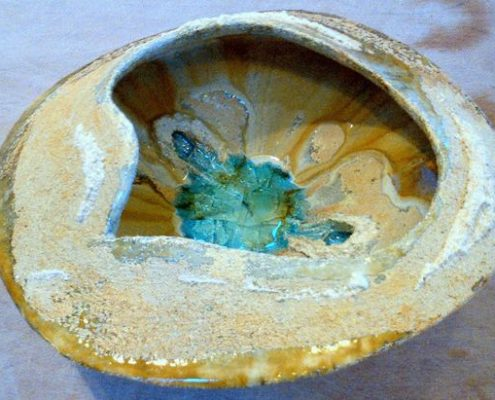 Hand built vessel by Elena Annunziata at Dublin based ceramics weekend course. Glass & grogged decorating slip detail. Electric fired to 1260°C (Cone 8). www.ceramicforms.com