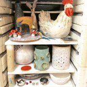 After...Glaze kiln! Selection of students work including Bernie W, Lorraine O'C, Margaret D, Emily O'B, Cleo O'N, Gosia, Linda K, Annie O'N, Eveline H, Ellen E & Richard D. #beforeandafter #after #kilnlove #kiln #ceramicforms #ceramicclass #students #loveclay #stoneware #cone8 #dublin #handmade