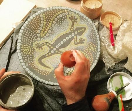 Slipwork plate by Richard Delaney. #ceramics #Dublin #CeramicClass #stoneware #handmade #slip #slipware #process #loveclay #ceramicstudio #ceramicforms