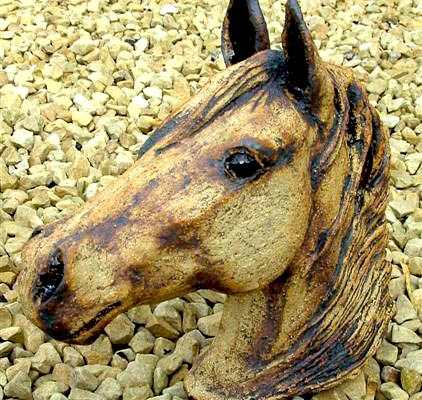 Horse modelled by Cathy Cooper at Dublin based ceramic class. Electric fired to 1260°C (Cone 8). www.ceramicforms.com
