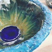Ceramic bowl detail by Róisín Ní Dhúshláine. #ceramics #Dublin #CeramicClass #stoneware #handmade #cone8 #glaze #glass #loveclay #ceramicstudio #ceramicforms