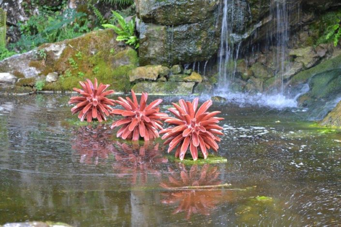 Award winning ceramic water sculpture by Michelle Maher - Symmetry at Blarney Castle, Co. Cork. Inspired by Dahlia and Coral forms, it was sculpted in my own grogged paper clay body and high fired in an electric kiln. Symmetry is now part of the permanent collection at Blarney Castle. www.ceramicforms.com