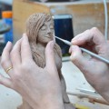 Figure modelled by Lorraine Kelly in crank clay body at Dublin based Tuesday morning pottery course. Later electric fired to 1260°C (Cone 8). www.ceramicforms.com