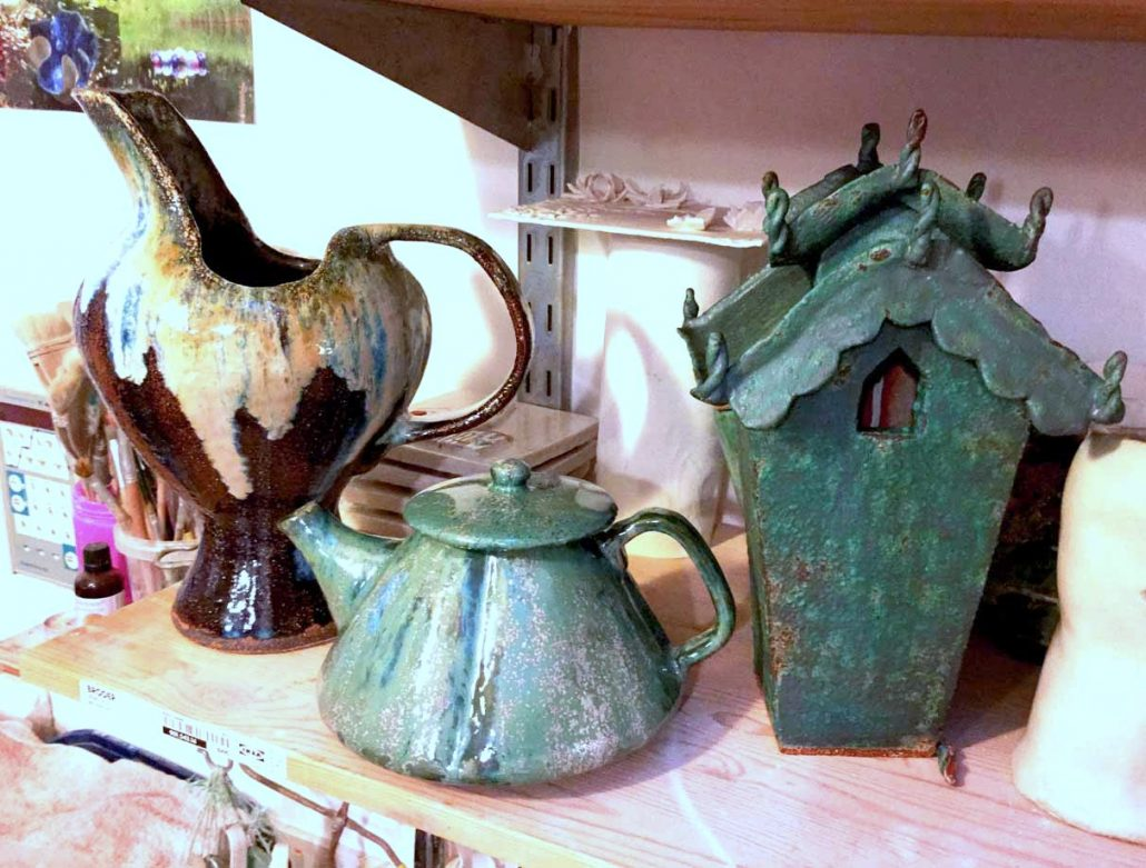 Collection of glazed student pieces at Dublin based ceramic class. Jug and teapot by Anna Turpin, spirit house by Rosemarie Connolly. All electric fired to 1260°C (Cone 8). www.ceramicforms.com