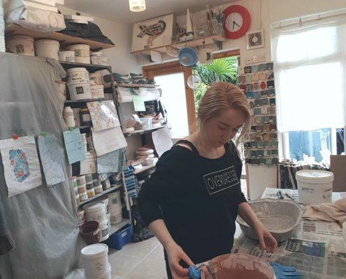 Studio shot summer 2017 at Ceramic Forms. Michelle Maher. www.ceramicforms.com