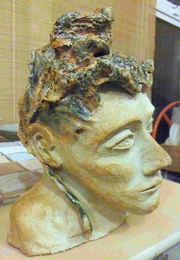 Figure modelled by Marguerite Redmond at Dublin based ceramics weekend course. Combustible mixed media detail (textile) on head piece, copper glaze. Electric fired to 1260°C (Cone 8). www.ceramicforms.com