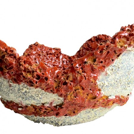 Red coral ceramic sculpture/vessel by Michelle Maher. This piece is inspired by coral and lichen surfaces. Combustible mixed media detail with volcanic glaze detail. Hand built in a grogged stoneware clay body and fired in an electric kiln to 1260°C (Cone 8). www.ceramicforms.com.