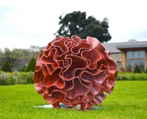 Ceramic sculpture - 'Synthesis' by Michelle Maher. Inspired by Fungi and Coral forms, it was sculpted in my own grogged paper clay body and high fired in an electric kiln to Cone 8. Seen here at Sculpture in Context 2017 at Oldbridge House, Co. Meath. www.ceramicforms.com