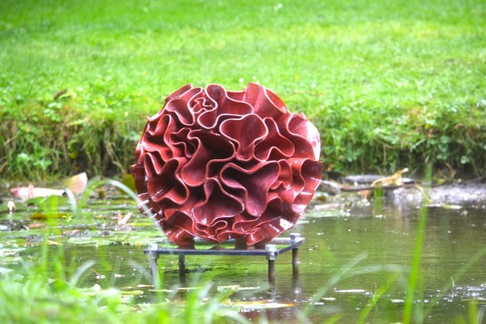Ceramic water sculpture - 'Synthesis' by Michelle Maher. Shown here at Sculpture in Context 2016 at The National Botanic Gardens in Dublin. Inspired by Fungi and Coral forms, it was sculpted in my own grogged paper clay body and high fired in an electric kiln to Cone 8. www.ceramicforms.com