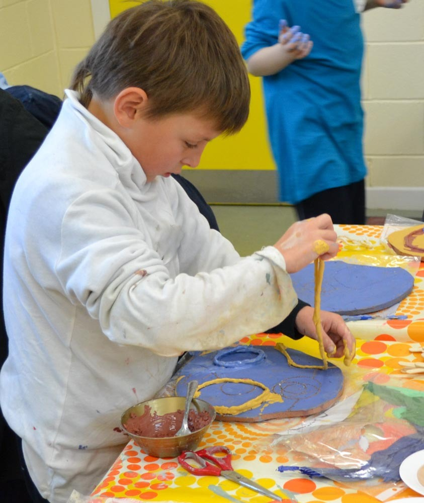 Collaborative Process. Ceramic Art Project 2010 by Michelle Maher & the children & staff of Scoil Thomáis, Laurel Lodge, Dublin 15. Design & Crafts Council of Ireland CRAFTed initiative. We drew inspiration from repeating patterns in nature to create a spiral wall sculpture. www.ceramicforms.com