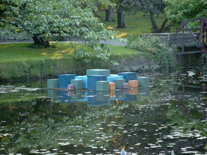 Award winning ceramic outdoor water sculpture The Age of Christ by Michelle Maher. Inspired by Thomas Kinsella poem 'Mirror in February'. The piece, consisting of 33 ceramic cubes, was installed in a pond in The National Botanic Gardens, Dublin and won a Sculpture in Context Award for a Work of Distinction in 2004. Later exhibited in the lake at Farmleigh House in the Phoenix Park. www.ceramicforms.com