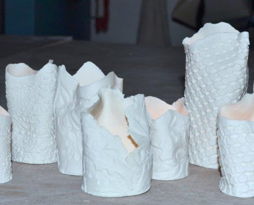 Hand built porcelain candle holders at Dublin based ceramic course. www.ceramicforms.com