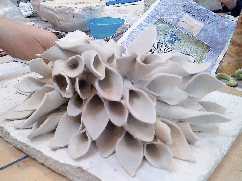 Porcelain sculpture in process by Emily O'Brien - Dublin based ceramic course. www.ceramicforms.com